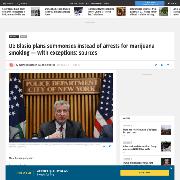 De Blasio plans summonses instead of arrests for marijuana smoking - with exceptions: sources - NY Daily News