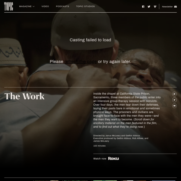 During an intensive therapy session at a California prison, convicts and civilians come face-to-face with the men they were-and the men they want to become.