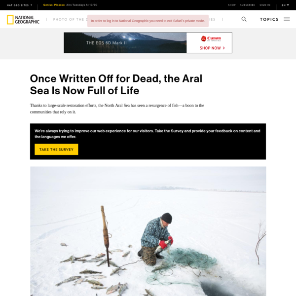 Reporting on this story was supported by a grant from the Pulitzer Center on Crisis Reporting. Omirserik Ibragimov fixed his gaze on the hole he had carved out from the frozen Aral Sea. The 25-year-old's hands moved steadily, pulling out a fishing net that he and his father had left under the solid, snow-covered surface just three days earlier.