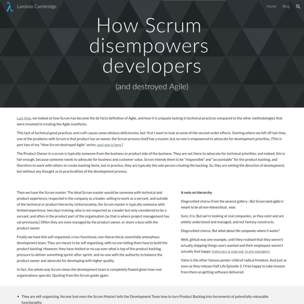 Then we have the Scrum master. The ideal Scrum master would be someone with technical and product experience, respected in the company as a leader, willing to work as a servant, and outside of the technical or product hierarchy.