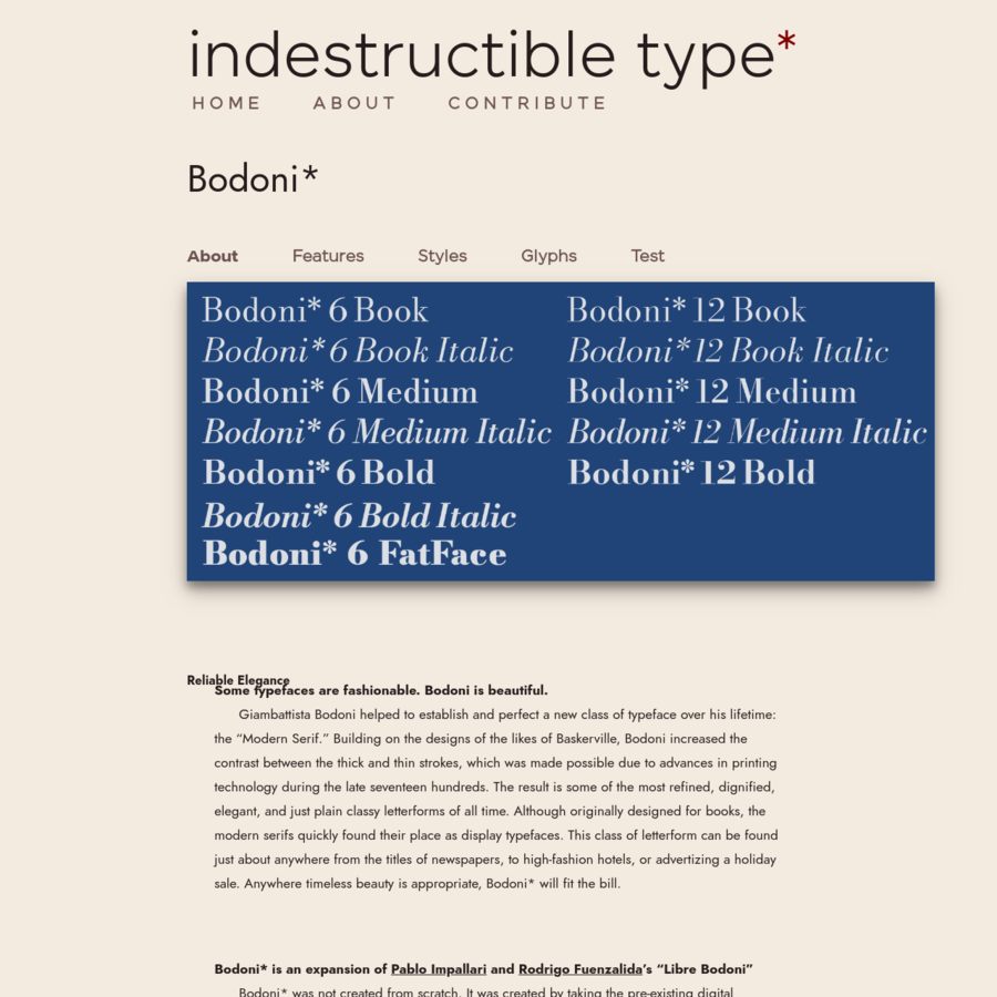 "Bodoni* is an expansion of and ""Libre Bodoni"" Bodoni* was not created from scratch. It was created by taking the pre-existing digital typeface: ""Libre Bodoni"" which is available in two weights: Normal and Bold, and expanding the typeface to a whopping four weights: Book, Medium, Bold and Fatface."
