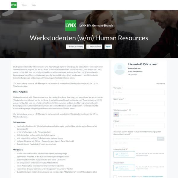 lynx bv germany branch has a job opening for werkstudenten wm human - Ups Bewerbung