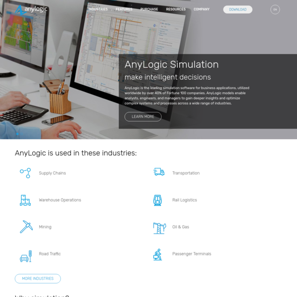 AnyLogic is the leading simulation software for business, utilized worldwide in many industries, including logistics, manufacturing, mining, healthcare, etc.