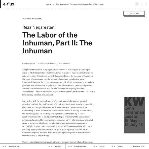 The Labor of the Inhuman, Part II: The Inhuman