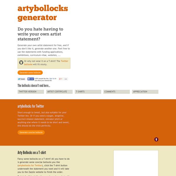 Instant artist statement: Arty Bollocks Generator