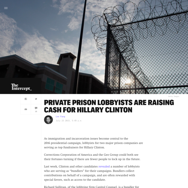 Private Prison Lobbyists Are Raising Cash for Hillary Clinton