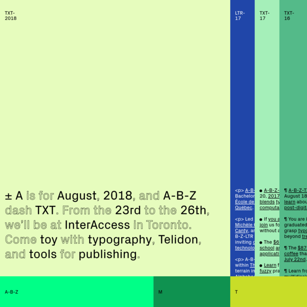 A-B-Z-TXT is back in Toronto this summer. We will be at InterAccess from August 23rd to the 26th, 2018. Applications are now open until July 15th.