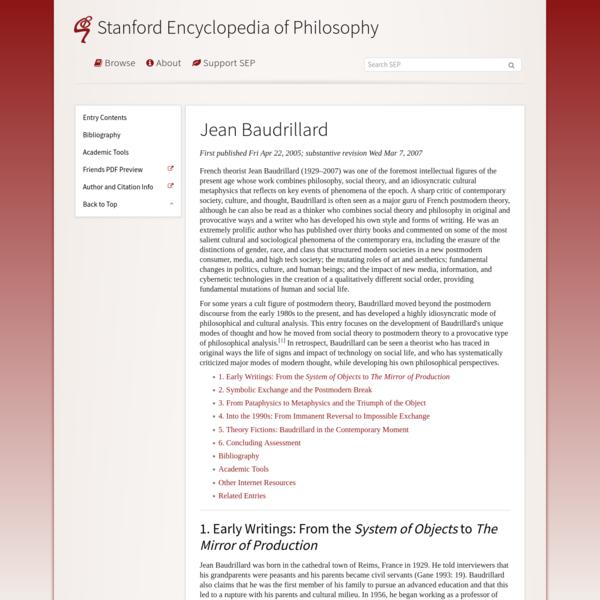 Jean Baudrillard (Stanford Encyclopedia of Philosophy)