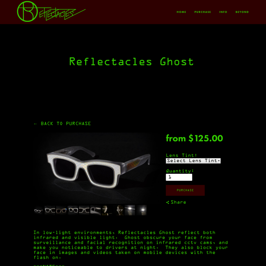 In low-light environments, Reflectacles Ghost reflect both infrared and visible light. Ghost obscure your face from surveillance and facial recognition on infrared cctv cams, and make you noticeable to drivers at night. They also block your face in images and videos taken on mobi