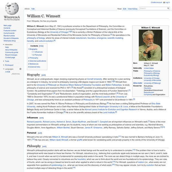 William C. Wimsatt - Wikipedia, the free encyclopedia