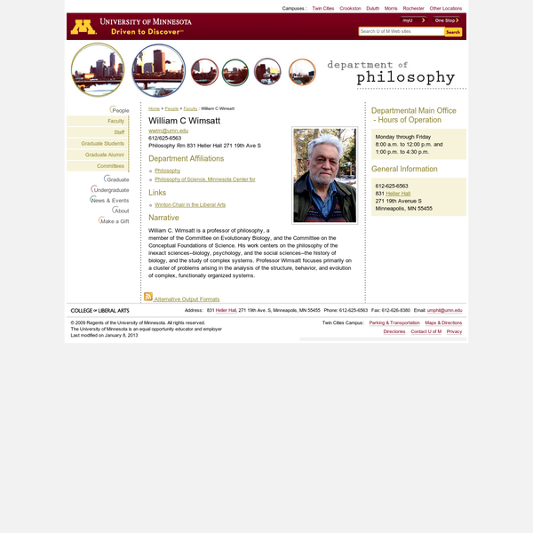 William C Wimsatt : Philosophy : University of Minnesota