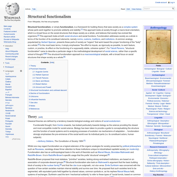 Structural functionalism - Wikipedia, the free encyclopedia