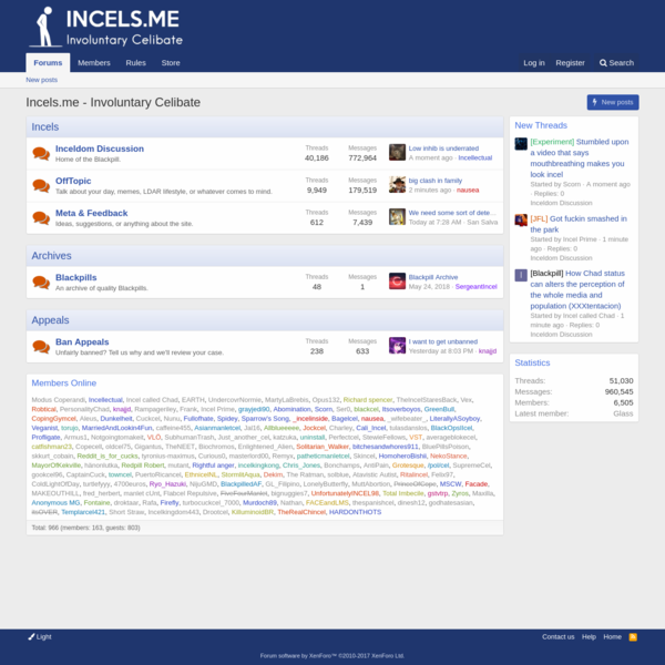 """Incels.me is a forum for """"Involuntary Celibates"""": People who lack romantic relationships, validation, and sex. It's also home of the Blackpill."""