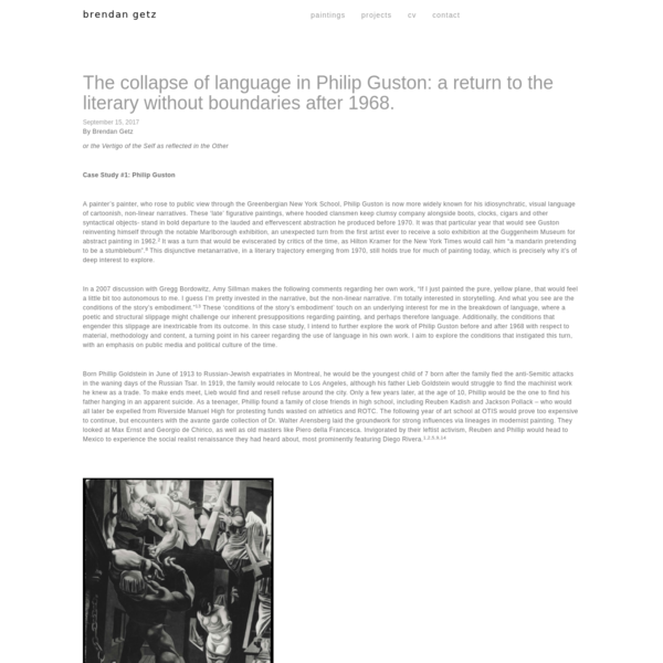 Case Study #1: Philip Guston A painter's painter, who rose to public view through the Greenbergian New York School, Philip Guston is now more widely known for his idiosynchratic, visual language of cartoonish, non-linear narratives.