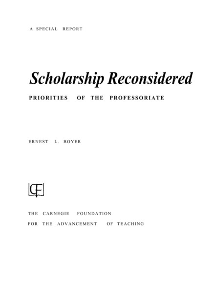 Ernest Boyer, Scholarship Reconsidered