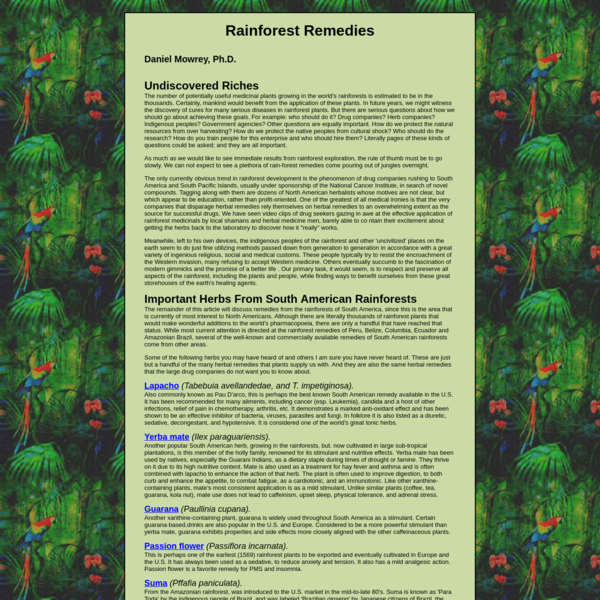 Aricles on Rainforest Medicinal Plants