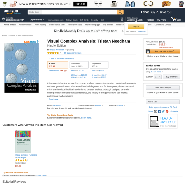 this successful radical approach to complex analysis replaces the standard calculational arguments with new geometric ones. With several hundred diagrams, and far fewer prerequisites than usual, this is the first visual intuitive introduction to complex analysis. Although designed for use by unde...