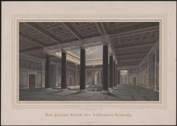 Werke der höheren Baukunst, 1848, (Tafel 5). Schloss Orianda auf der Krim. Antikischer Entwurf. Großes Atrium