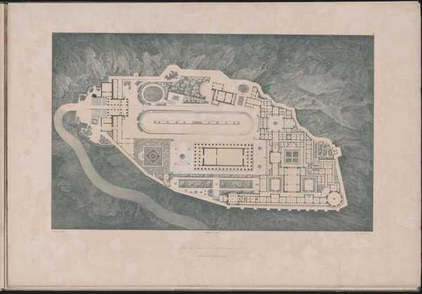 Werke der höheren Baukunst, 1840, Tafel 2. Athen, Akropolis. Palast des Königs Otto von Griechenland. Grundriss