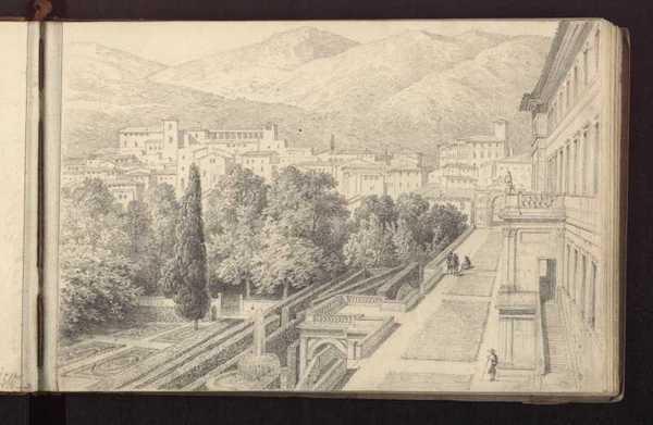 Der Garten der Villa d'Este, im Hintergrund Tivoli