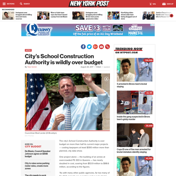 City's School Construction Authority is wildly over budget