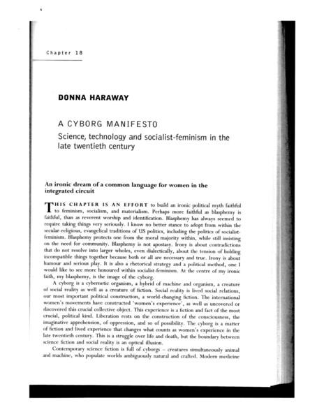 Haraway, Cyborg Manifesto