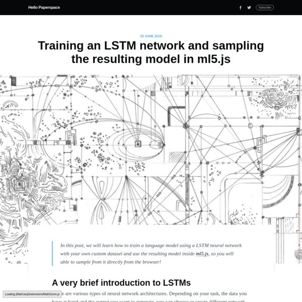 Training an LSTM network and sampling the resulting model in ml5.js
