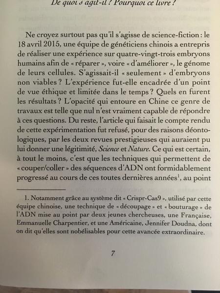Introduction livre, anecdote généticien chinois