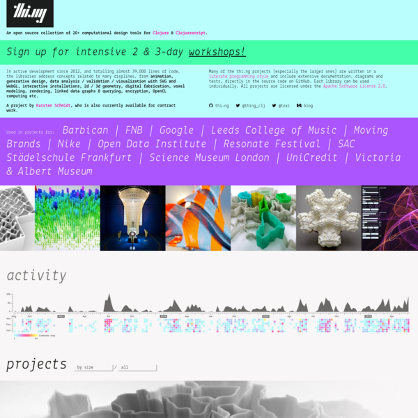thi.ng is an open source collection of 20+ computational design tools for Clojure & Clojurescript: generative design, data visualization, digital fabrication, linked data, graph processing and more...