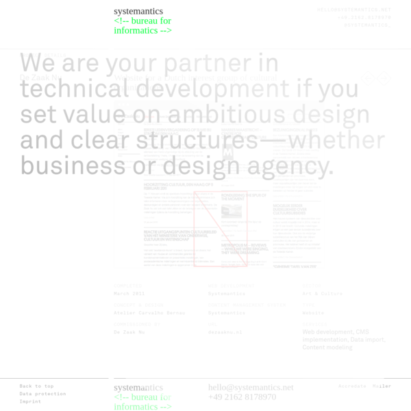 We are your partner in technical development if you set value on ambitious design and clear structures-whether business or design agency.