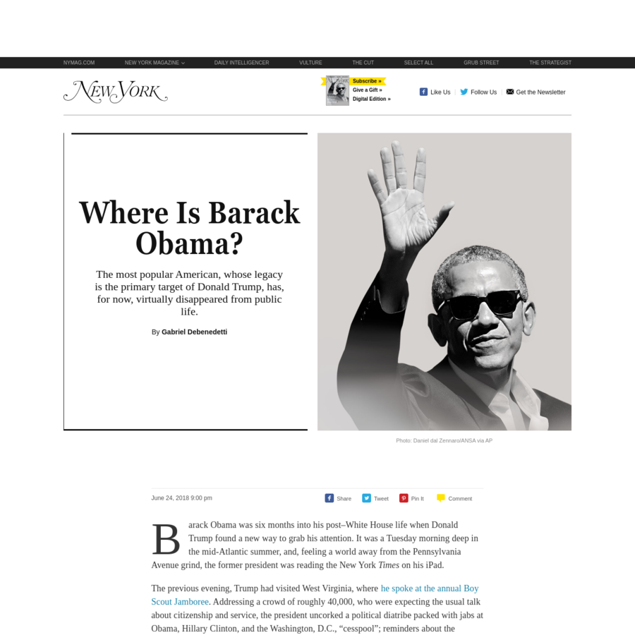 Barack Obama was six months into his post-White House life when Donald Trump found a new way to grab his attention. It was a Tuesday morning deep in the mid-Atlantic summer, and, feeling a world away from the Pennsylvania Avenue grind, the former president was reading the New York Times on his iPad.