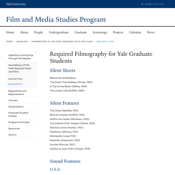 Required Filmography for Yale Graduate Students | Film and Media Studies Program