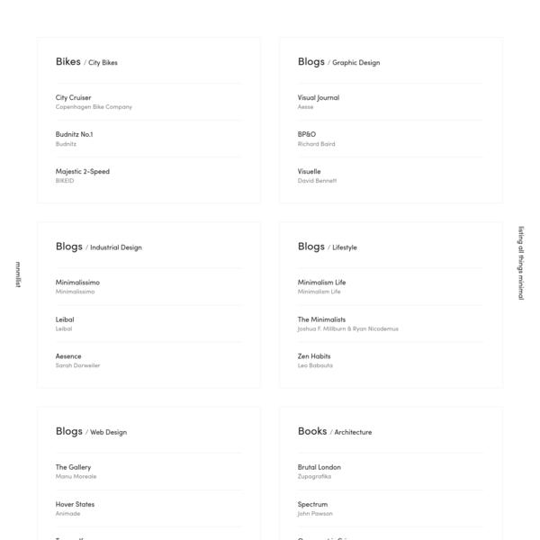 mnmllist - listing all things minimal