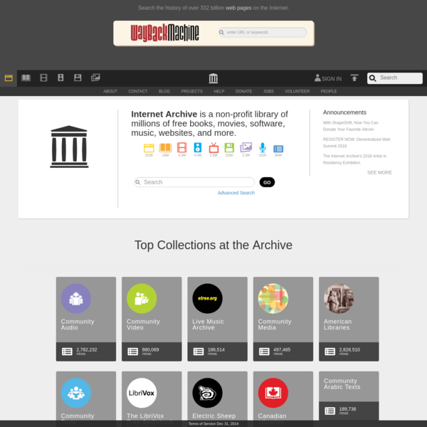 Internet Archive: Digital Library of Free & Borrowable Books, Movies, Music & Wayback Machine