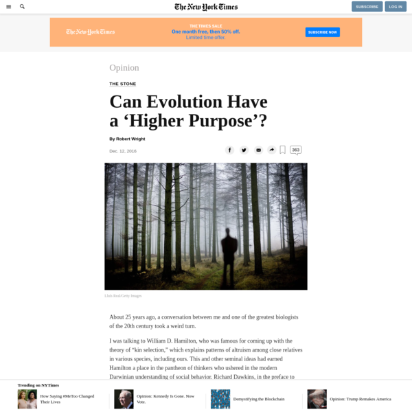 Opinion | Can Evolution Have a 'Higher Purpose'?