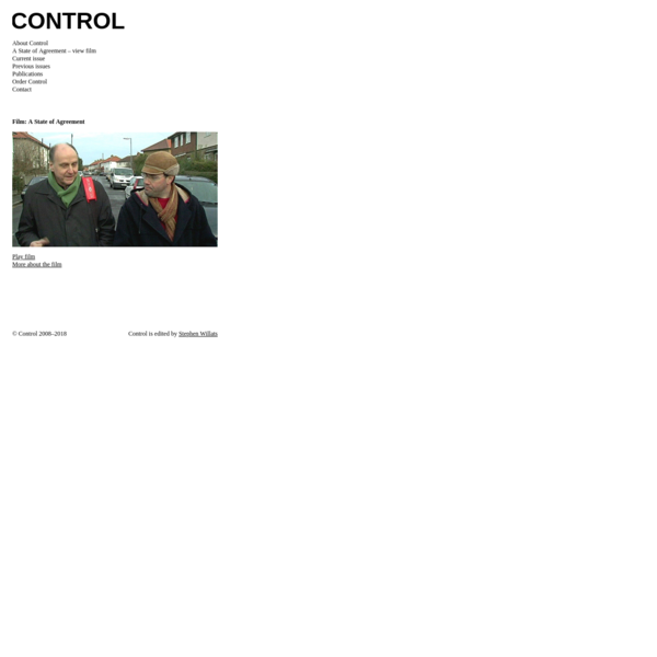 Control Magazine acts as a vehicle for proposals and explanations of art practice between artists seeking to create a meaningful engagement with contemporary society.
