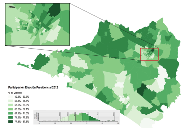 Level of participation in the presidential election 2012 in #Colima by electoral section.png