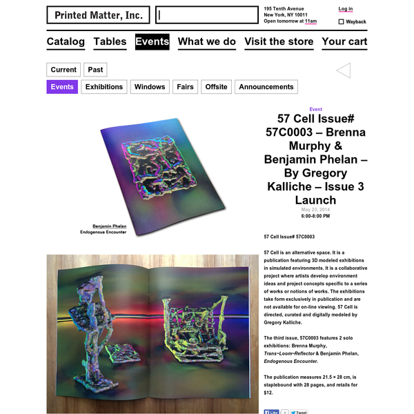 57 Cell Issue 3 Launch at Printed Matter — Brenna Murphy and Benjamin Phelan