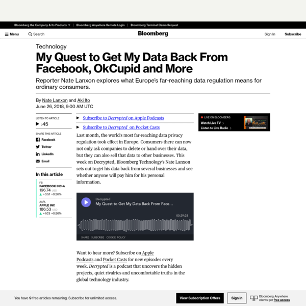 My Quest to Get My Data Back From Facebook, OkCupid and More