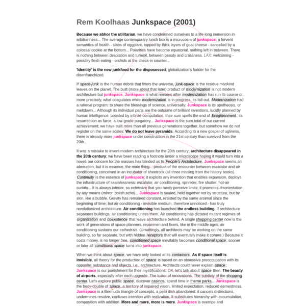 An augmented HTML 5 version of Rem Koolhaas' Junkspace essay from 2002