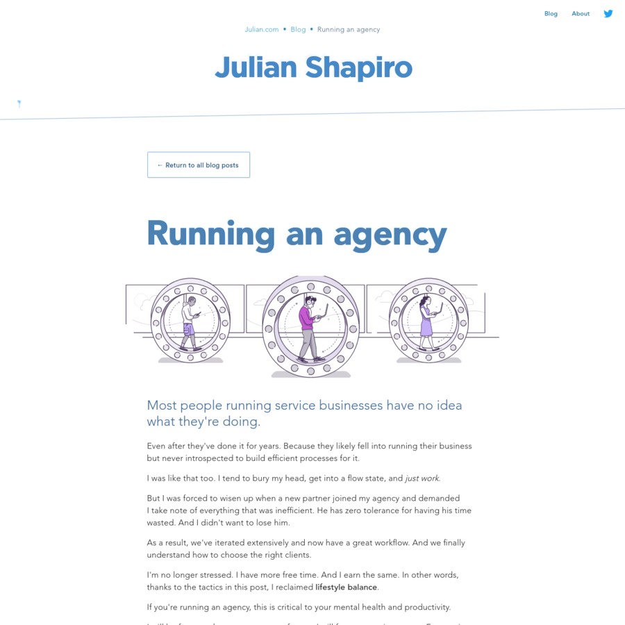 How to run an agency while retaining your sanity. Workflow advice from handling volatile workloads to dealing with unstable income.