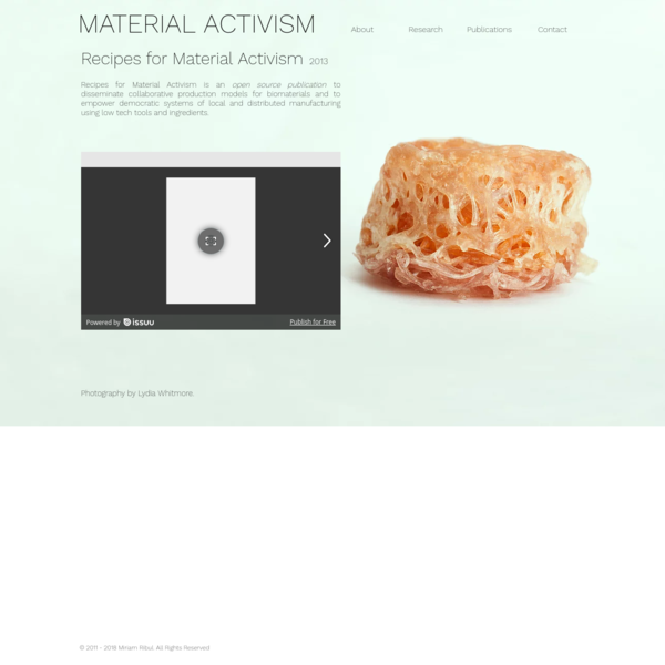 Miriam Ribul | Material Activism | Recipes for Material Activism
