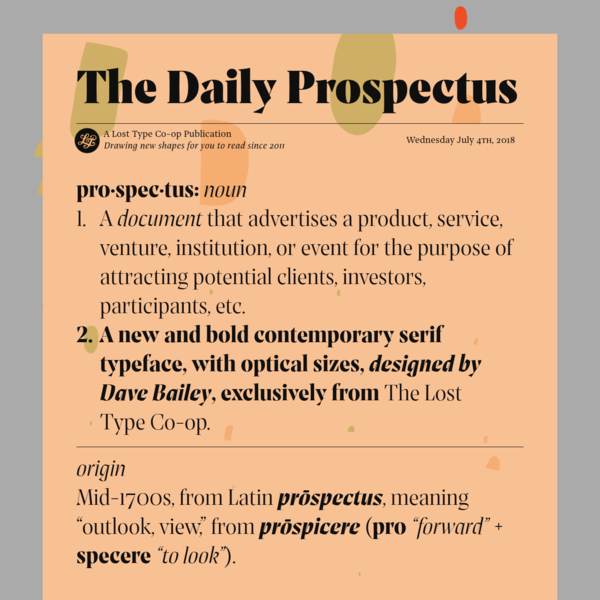 Prospectus, a new typeface from Lost Type