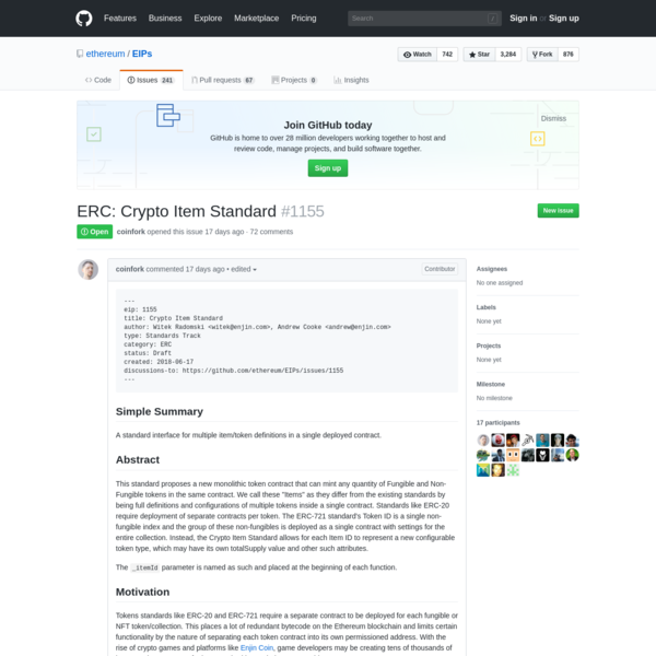 eip: 1155 title: Crypto Item Standard author: Witek Radomski , Andrew Cooke type: Standards Track category: ERC status: Draft created: 2018-06-17 discussions-to: https://github.com/ethereum/EIPs/is...