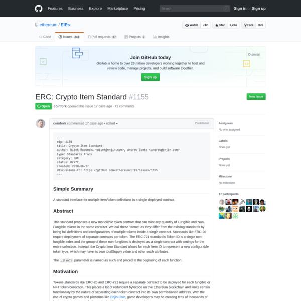 ERC: Crypto Item Standard · Issue #1155 · ethereum/EIPs