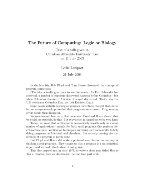 The Future of Computing: Logic or Biology