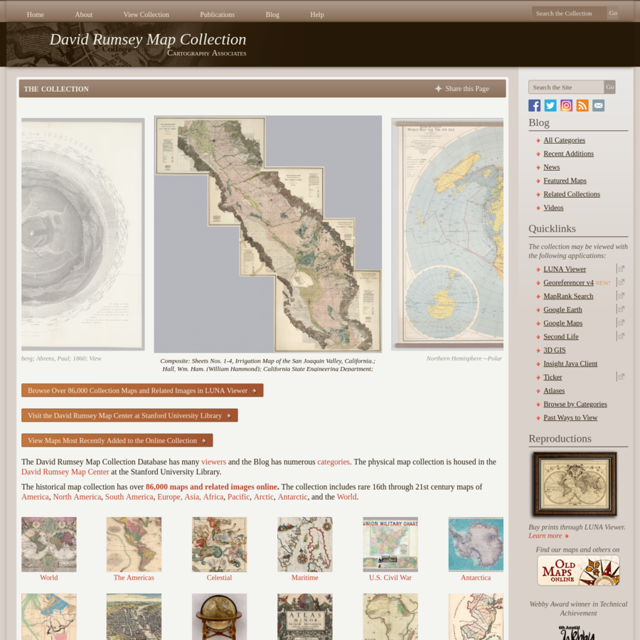 Browse Over 86,000 Collection Maps and Related Images in LUNA Viewer Visit the David Rumsey Map Center at Stanford University Library View Maps Most Recently...