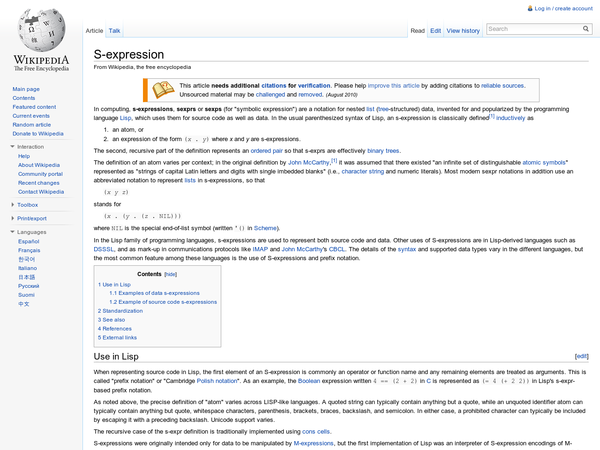 S-expression - Wikipedia, the free encyclopedia