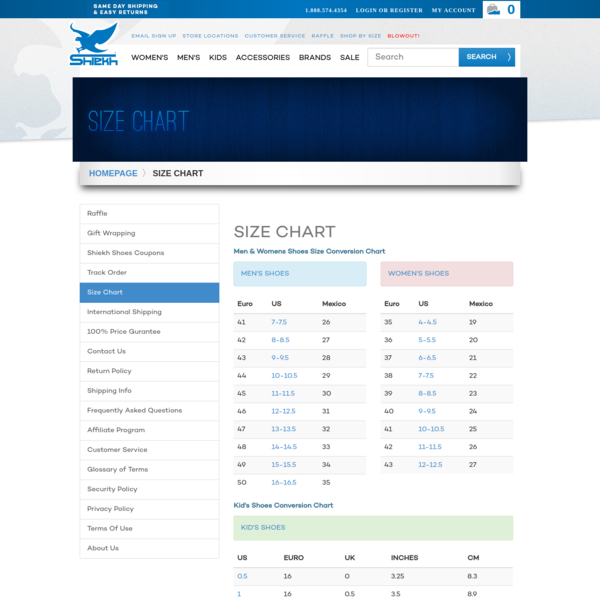 Men & Women's Shoe Size Conversion Chart