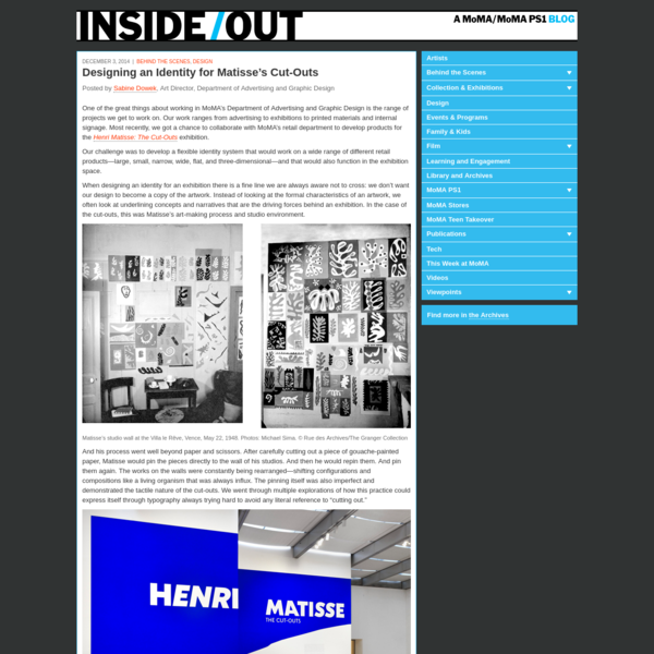 One of the great things about working in MoMA's Department of Advertising and Graphic Design is the range of projects we get to work on. Our work ranges from advertising to exhibitions to printed materials and internal signage. Most recently, we got a chance to collaborate with MoMA's retail department to develop products for the Henri Matisse: The Cut-Outs exhibition.